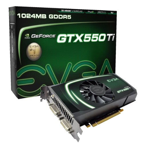 EVGA GeForce GTX 550 Ti FPB 1024 MB GDDR5 PCI Express 2.0 2DVI/Mini-HDMI SLI Ready Graphics Card, 01G-P3-1556-KR