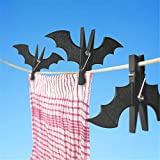 DH-S 4 pcs Plastic Bat Shape Clothes Pegs Clothespin Laundry Hangers Cool Batman Photo Paper Memo Note Card Clip for Home Halloween Christmas Decorated (Black)