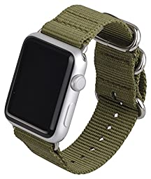 Y-BAND Apple Watch 42mm Band NATO Iwatch Woven Nylon Fabric Replacement Strap with Storage Box Olive Green