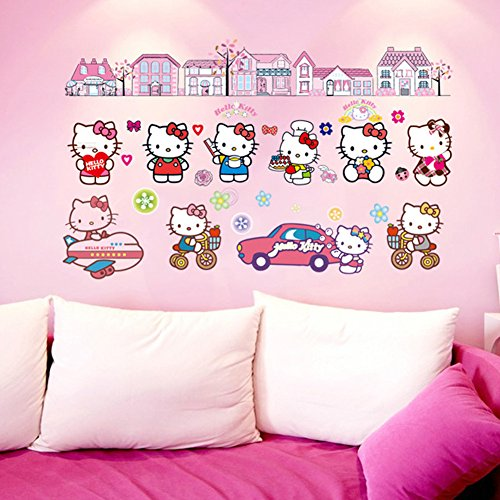 Wall Decals Stickers Paper Removable Home Living Dinning Room Bedroom Kitchen Decoration Art Murals Diy Stick Girls Boys Kids Nursery Baby Room Playroom Decorating (Hello Kitty Wall Sticker)
