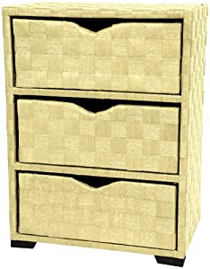 Oriental Furniture Light Color Rattan Wicker Bamboo Natural Design, 25-Inch 3 Drawer Woven Fiber End Table Nightstand Lamp Table Storage Chest, White