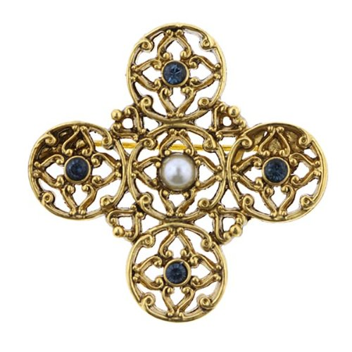 Windows to Heaven Embellished Filigree Cross Brooch