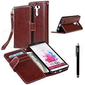 LG G3 Case, LG G3 Flip Case - E LV LG G3 Deluxe PU Leather Folio Wallet Full Body Protection Case Cover for LG G3 with 1 Stylus - Brown
