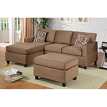 Boss Furniture F7662 Saddle Microfiber Upholstered Sectional Sofa With Chaise And Ottoman