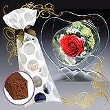 母の日 花とスイーツのセット プリザーブドフラワー(ハート型)&熟成ケーキ( 誕生日 記念日 プレゼント ブリザードフラワー フラワーギフト 洋菓子 限定)