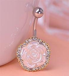 Blucoo Elegant White Rose Flowers Belly Button Piercing Navel Ring