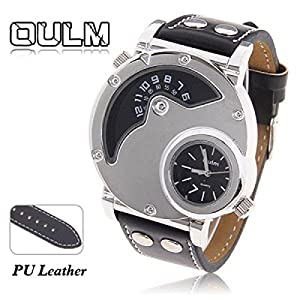 Oulm Male Quartz Wrist Watch Multi-Function Dual Movt Round Shaped Black Leather Band