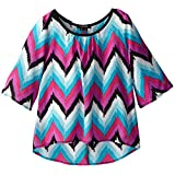 My Michelle Big Girls' Chevron-Print Top with Bow Back