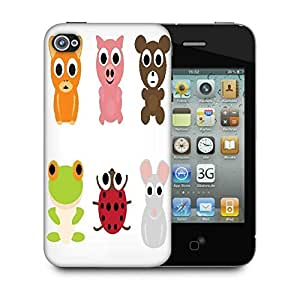 Snoogg Animal Characters Set Designer Protective Back Case Cover For Apple Iphone 4