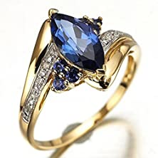 buy Suohuan Fashion Women'S 18K Yellow Gold Plated Blue Cubic Zirconia Rings Gift Size 6