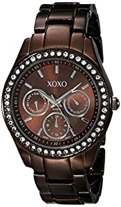 XOXO Women's Rhinestone Accent Chocolate Analog Watch Brown XO5458