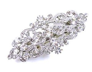 Swarovski Crystal and Antique Silver Victorian Hair Barrette Bridal