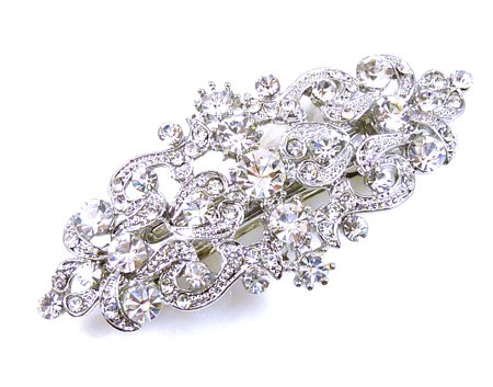 Swarovski Crystal and Antique Silver Victorian Hair Barrette Bridal