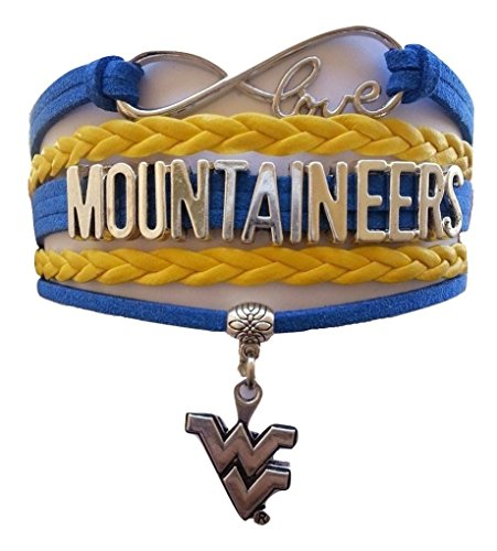 West Virginia University Mountaineers NCAA Blue & Old Gold Infinity Braided Leather Bracelet with Silver