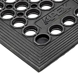 NoTrax T14 General Purpose Rubber Tek-Tough Jr Safety/Anti-fatigue Mat, for Wet or Work Areas, 3\' Width x 5\' Length x 1/2\
