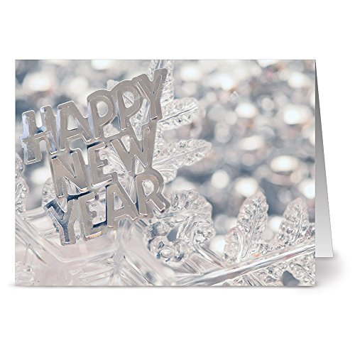 24 New Year's Note Cards - Shiny New Year - Blank Cards - Gray Envelopes Included