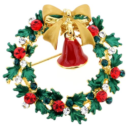 Christmas Bell Christmas Wreath Pin Swarovski