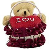 Tickles Red Basket Teddy With Heart Stuffed Soft Plush Toy 10 Cm