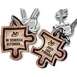 schenkYOU® Puzzle Anhänger 2er Set Echtholz Schlüsselanhänger aus Nussbaum mit Gravur - Ihr Wunschtext + Symbol - gestalten Sie Ihren gravierten Partneranhänger - tolle Geschenkidee