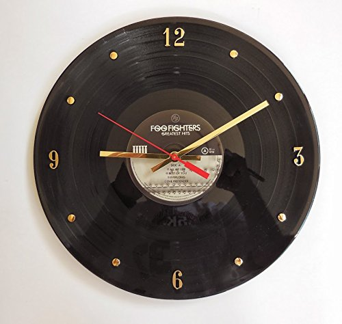 "Record Clock - Foo Fighters (Greatest Hits). Handmade 12"" wall clock created with the original Foo Fighters record."