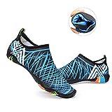 Water Shoes Mens Womens Beach Swim Shoes Quick-Dry Aqua Socks Pool Shoes for Surf Yoga Water Aerobics  Blue 12 D(M) US