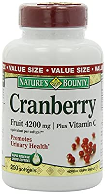 Nature's Bounty Cranberry Fruit 4200mg/ Plus Vitamin C, 500 Softgels (Nature's Bounty,HY-STE)