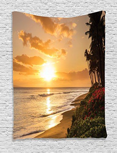 Ambesonne-Hawaiian-Decorations-Collection-Warm-Tropical-Sunset-on-Sands-of-Kaanapali-Beach-in-Maui-Hawaii-Image-Print-Bedroom-Living-Room-Dorm-Wall-Hanging-Tapestry-Cream-Ivory-Pink