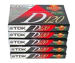 TDK D120 Slimline EcoCase High Output Precision Rigid Construction Mechanism IEC I / Type I Normal Bias Audio Cassette Tapes - 5 Pack