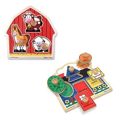 Melissa & Doug Jumbo Knob Puzzle Bundle (Shapes and Barn) by Melissa & Doug