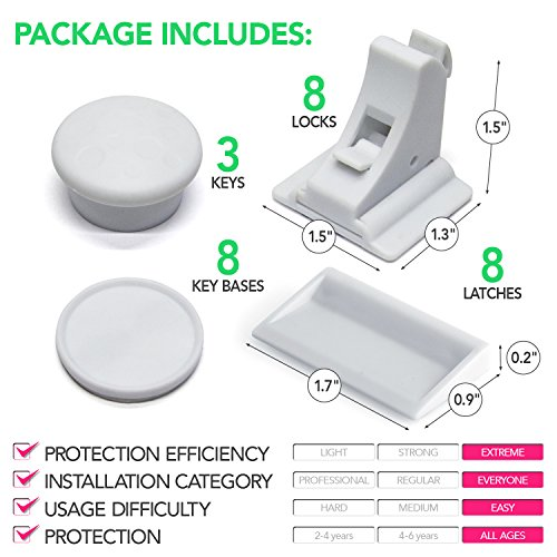 Nexpa Safety ChildProof Magnetic Cabinet Locks - 8 Locks + 3 Keys + 8 Key Bases - For Cabinets / Drawers / Etc, - Easy Installation & Completely Secure, For Baby / Child Proofing - White