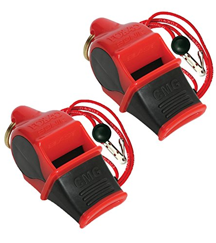 Fox 40 Sonik Blast Cushion Mouth Group Sports and Safety Loud Whistle with Lanyard, Red & Black (2 Pack) (Blast Whistle compare prices)