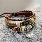 Handmade leather wristband Chinese ancient lock for peace pendant charm wrap bracelet for women, men, boys and girls,adjustable length