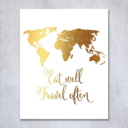 eat-well-travel-often-gold-foil-print-poster-inspirational-wall-art-quote-gold-decor-8-inches-x-10-i