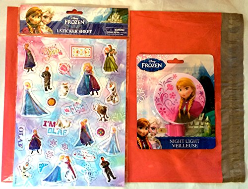 Frozen Pink Night Light Featuring Princess Anna and Puffy Stickers Gift Pack (29 Pieces) (Anna) - 1