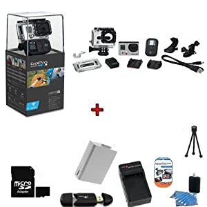 GoPro HERO3: Black Edition Camera (CHDHX-301) w/ SSE Kit: Includes 16GB SDHC High Speed Memory Card, High Speed Card Reader, Extended Life Battery, External Rapid Home & Travel Charger