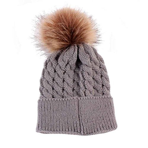 Datework Cute Winter Baby Knitted Wool Hemming Hat (Gray)