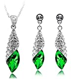 Austrian Crystal and 18K PURE WHITE GOLD Plated Water Drop Fashion Jewellery Set Earrings + Pendant