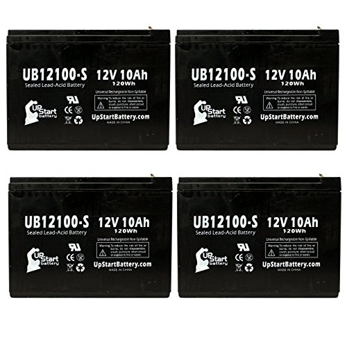 4X Pack - Schwinn Izip I-750 Electric Scooter 3 Battery - Replacement Ub12100-S Universal Sealed Lead Acid Battery (12V, 10Ah, 10000Mah, F2 Terminal, Agm, Sla)