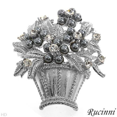 Rucinni Exquisite Brand New Brooch with Crystals and Faux Pearls Beautifully Crafted in Silver Base Metal Length 43mm