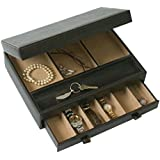 Stock Your Home Mens Dresser Top Valet- Jewelry Organizer Chocolate Faux Leather-10 Compartments