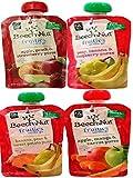 Beech-Nut Fruities On-The-Go Pouch 4 Flavor Variety Bundle: (1) Beech-Nut Banana, Pear & Sweet Potato, Apple, Mango & Carrot Puree, Pear, Banana & Raspberry Puree, Apple, Peach & Strawberry Puree, 4 Oz. Ea. (4 Pouches Total)