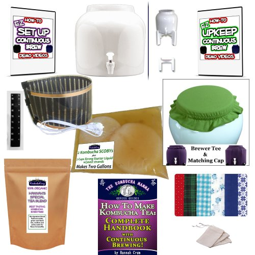 Kkamp Continuous Brew Kombucha No-Frills Package - Wt W/ Stand + Year Round Heater + Tee/Cap Set