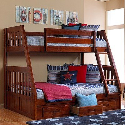 Ideal Merlot Twin Over Full Bunk Bed derese riwul