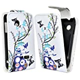 Phonedirectonline - Multi flower design faux leather case cover pouch for Sony xperia tipo st21i