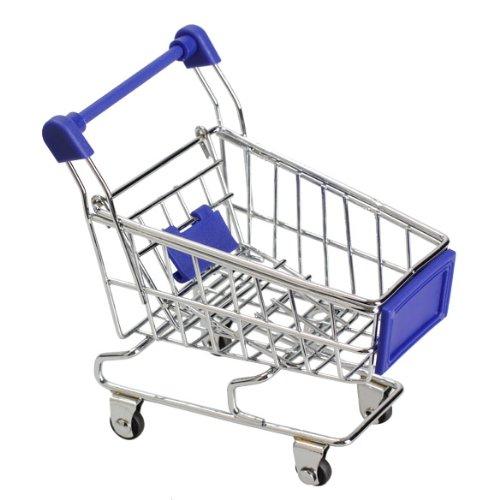 Vktech Mini Shopping Cart Supermarket Handcart Shopping Utility Cart Mode Storage Toy (Blue)