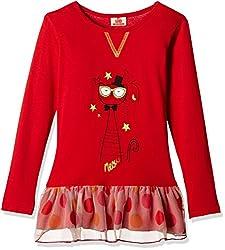 UFO Girls' Dress (AW-16-WR-GK-345_Red_2 - 3 years)
