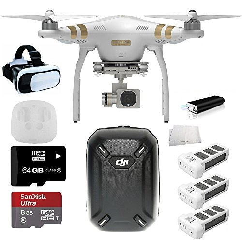 DJI Phantom 3 Pro w/ 4K Cam & 3 Batteries + DJI Backpack + VR + 64 GB SD Card + Powerbank + More