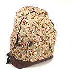 New Womens Ladies Canvas BackPack Rucksack Girls School Bag in FOX Design 2 Colours (Beige)