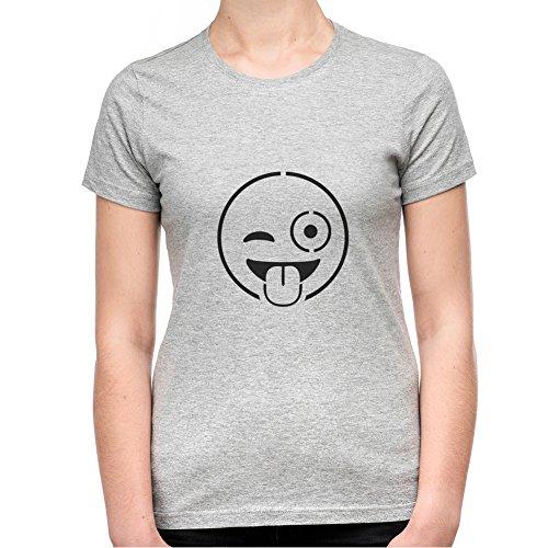 Cheeky Wink Emoji T-Shirt - Donna - XX-Large