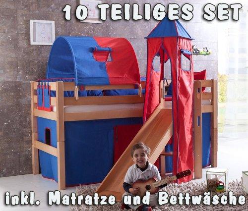 Hochbett Set »ELIYAS« mit Turm und Rutsche, Buche massiv